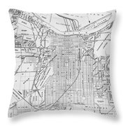 Vintage Map Of Savannah Georgia - 1910 Throw Pillow