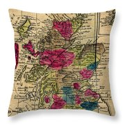 Vintage Map Of Scotland - 1808 Throw Pillow