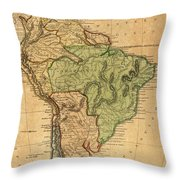 Vintage Map Of South America - 1821 Throw Pillow