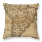 Vintage Map Of South America - 1825 Throw Pillow