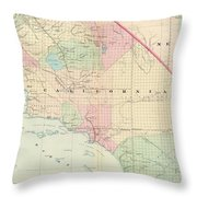 Vintage Map Of Southern California - 1874 Throw Pillow