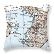 Vintage Map Of St. John New Brunswick - 1894 Throw Pillow