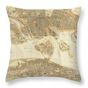 Vintage Map Of Stockholm  Throw Pillow