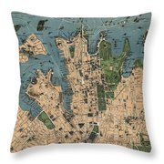 Vintage Map Of Sydney Australia - 1922 Throw Pillow