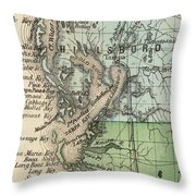 Vintage Map Of Tampa Florida - 1870 Throw Pillow