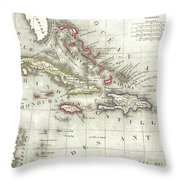 Vintage Map Of The Caribbean - 1852 Throw Pillow