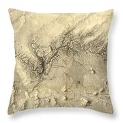 Vintage Map Of The Colorado River - 1858 Throw Pillow