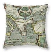 Vintage Map Of The Mediterranean Sea - 1608 Throw Pillow