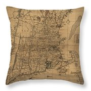 Vintage Map Of The New England Coast - 1771 Throw Pillow
