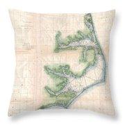 Vintage Map Of The North Carolina Coast  Throw Pillow