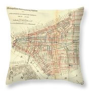 Vintage Map Of The Nyc Railways  Throw Pillow