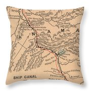 Vintage Map Of The Panama Canal - 1885 Throw Pillow