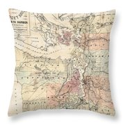 Vintage Map Of The Puget Sound - 1891 Throw Pillow