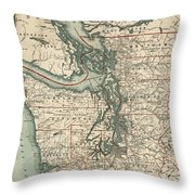 Vintage Map Of The Puget Sound - 1910 Throw Pillow