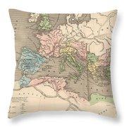 Vintage Map Of The Roman Empire - 1838 Throw Pillow