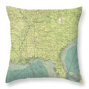 Vintage Map Of The Southeastern U.s. Ports - 1922 Throw Pillow