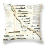 Vintage Map Of The U.s. West Coast - 1853 Throw Pillow