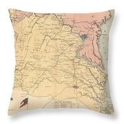 Vintage Map Of The Virginia Battlefields - 1861 Throw Pillow