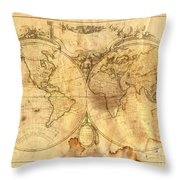 Vintage Map Of The World Throw Pillow by Michal Boubin