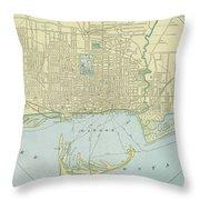 Vintage Map Of Toronto - 1901 Throw Pillow