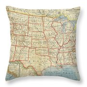 Vintage Map Of United States, 1883 Throw Pillow