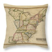 Antique Map Of United States Throw Pillow