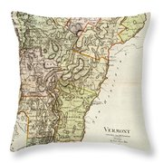 Vintage Map Of Vermont - 1797 Throw Pillow
