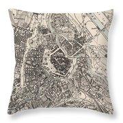 Vintage Map Of Vienna Austria - 1906 Throw Pillow