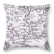 Vintage Map Of Virginia Throw Pillow