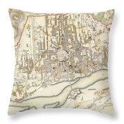 Vintage Map Of Warsaw Poland - 1831 Throw Pillow