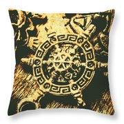 Vintage Maritime Design Throw Pillow