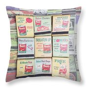 Vintage Matchbooks Throw Pillow