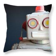 Vintage Mechanical Robot Toy Throw Pillow