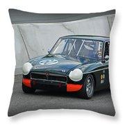 Vintage Mg Race Car Throw Pillow