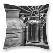 Vintage Milk In Black And White Throw Pillow
