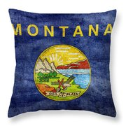 Vintage Montana Flag Throw Pillow