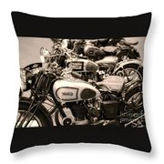 Vintage Motorcycles Throw Pillow