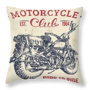 Vintage Motorcycling Mancave-b Throw Pillow
