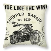 Vintage Motorcycling Mancave-d Throw Pillow