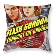 Vintage Movie Posters, Flash Godon Conquers The Universe Throw Pillow