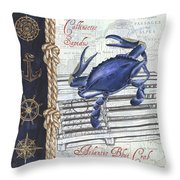 Vintage Nautical Crab Throw Pillow