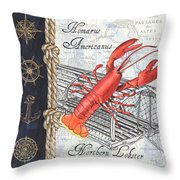Vintage Nautical Lobster Throw Pillow