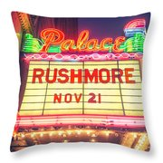 Vintage Neon Sign Over The Entrance To Historic Palace Theatre In Downtown La. Throw Pillow
