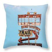 Vintage Neon Sign - The Spanish Trail - Tucson, Arizona Throw Pillow