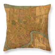 Vintage New Orleans Louisiana Street Map 1919 Retro Cartography Print On Worn Canvas Throw Pillow