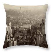 Vintage New York City Panorama Throw Pillow