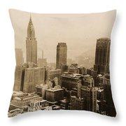 Vintage New York City Skyline Photograph - 1935 Throw Pillow
