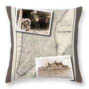 Vintage New York Map With Ellis Island Throw Pillow