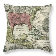 Vintage North America And Caribbean Map - 1720 Throw Pillow