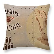 Vintage Nose Art Naughty Nadine Throw Pillow